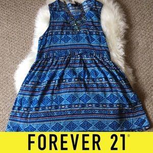 Forever 21 Blue Tribal Mini Dress - SZ: Small